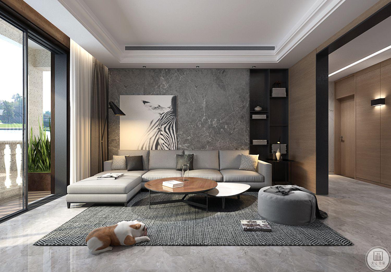 沙发背景墙采用灰色大理石护墙板,一侧放置黑白装饰画,另一侧用黑色实木装饰画,沙发采用浅色真皮沙发,搭配圆形实木茶几。