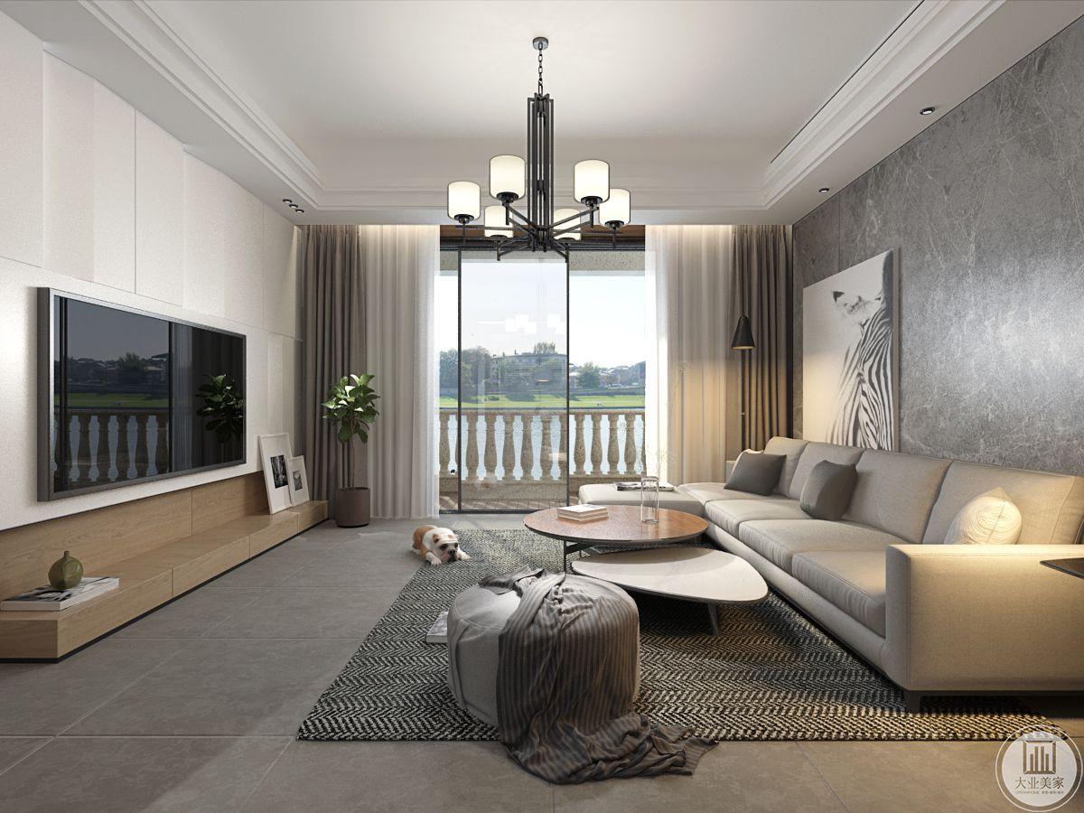 客厅和阳台之间的空间,采用大型落地窗。