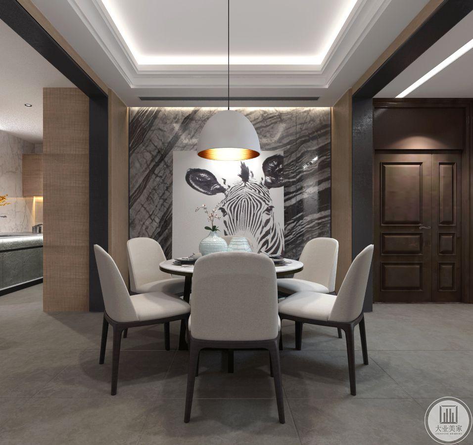 餐厅餐桌采用黑色实木,桌面采用白色木板,搭配餐椅黑色实木框架,墙面采用灰白色花纹砖,装饰画采用动物肖像装饰画。