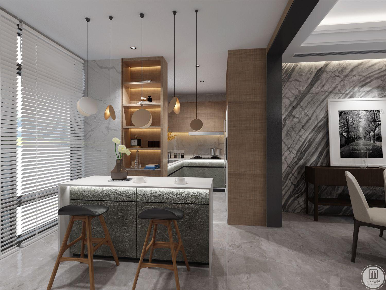 厨房吧台台面采用大理石装饰,相对的一侧就是厨房。