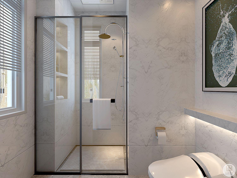 卫生间墙面采用白色瓷砖,同时空间内采用干式分离。