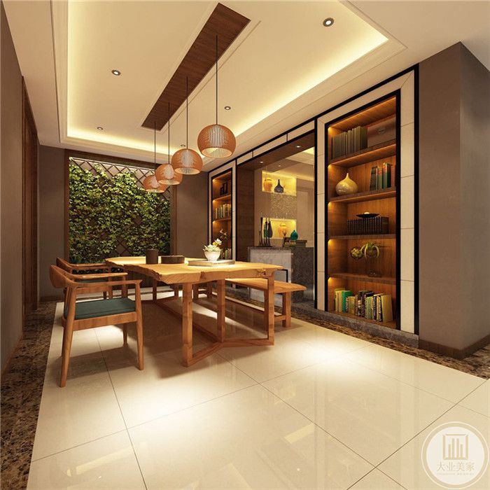 茶室采用全木质的家具,木质的桌椅自然质朴。