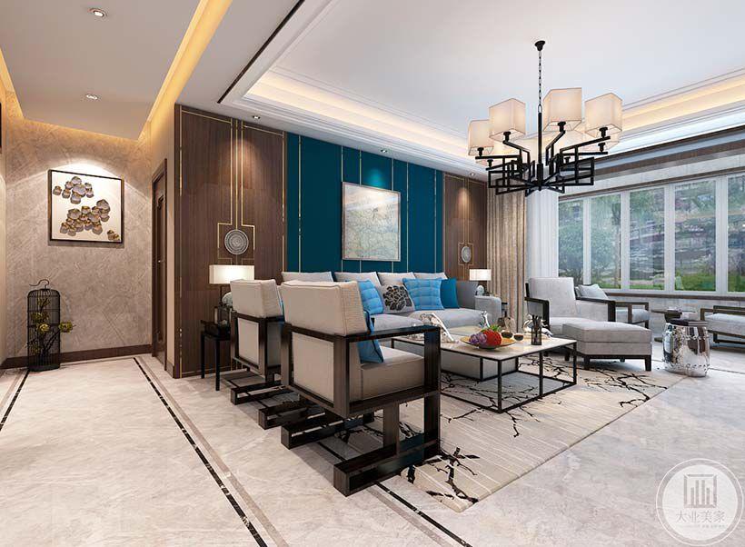 窗户设计的很大,白天阳光能够透过窗户照亮客厅这个大空间。