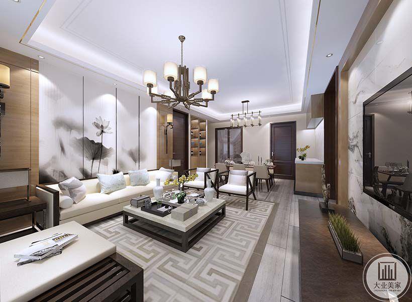 客厅沙发墙采用中式水墨风格的壁布,黑色实木沙发框,搭配白色黑框的方正茶几。