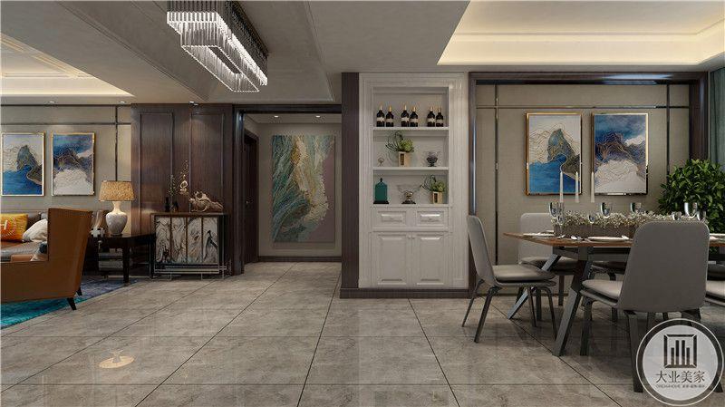 客厅入户玄关采用现代风格风景画装饰。
