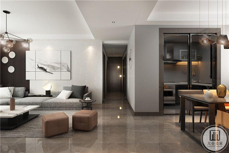 从这个方向可以看到客厅和餐厅的整体布局。