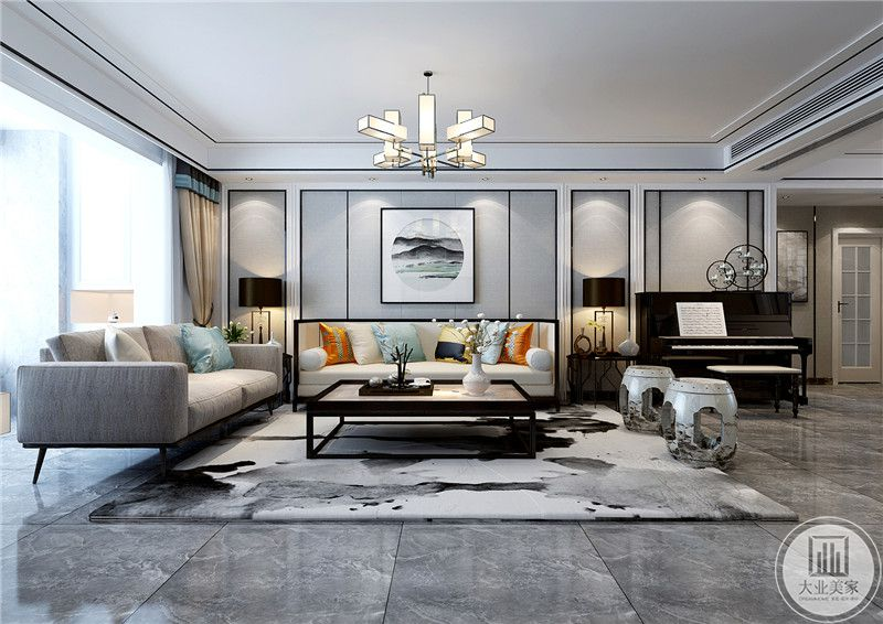 沙发墙则是浅灰色的漆面,中央是一幅颇有意境的山水装饰画。主沙发上是颜色鲜丽的抱枕,给这个格外淡雅的空间添上了一抹暖色 。在沙发右侧还摆放了一架黑色的钢琴。