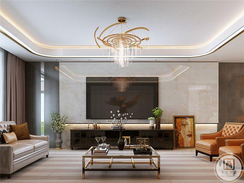 客厅电视墙是简单的白色大理石板,简约的黑色电视柜旁边是一幅暖色的现代艺术画,与客厅金属色的吊灯运用重复的元素来突出轻奢的魅力