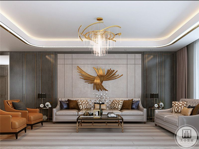 沙发墙是简约的大理石板,中间是金属色的装饰,与华丽的吊灯相互映衬,同样的元素还用在侧边的橘色单人沙发上,整体的明亮华丽正是轻奢的风格