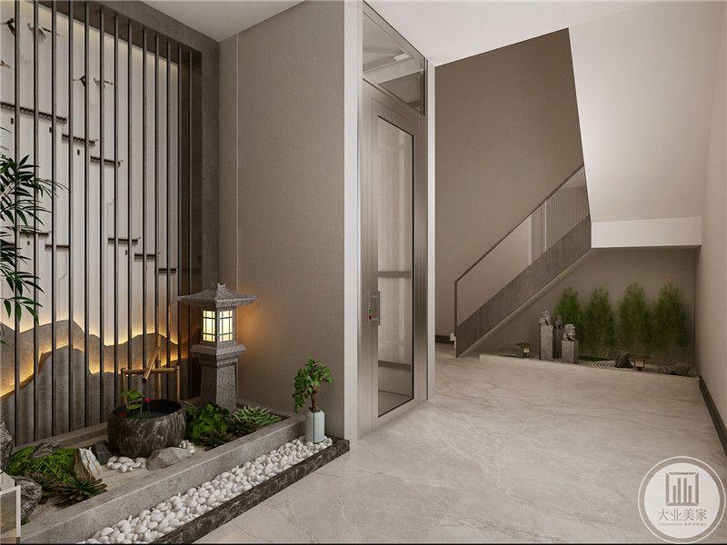 楼梯间均是仿园林的色剂 ,鹅软石,绿色的植物,水缸,小灯展,无一不体现了中式元素