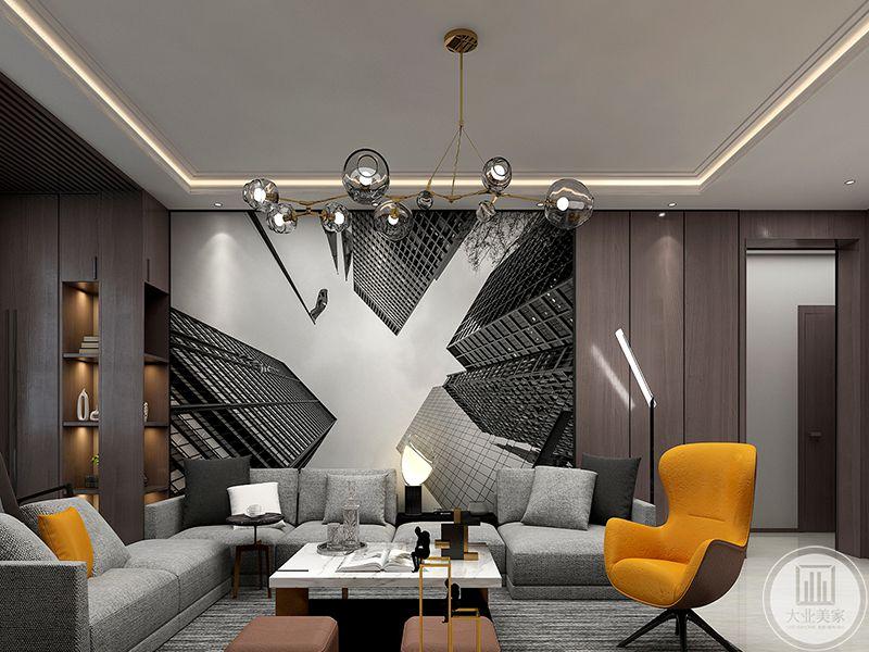 客厅是浅灰色的布艺软沙发,沙发背景墙是一幅巨大的装饰图,明黄色的单人椅和抱枕给灰色的空间增添了一抹亮色