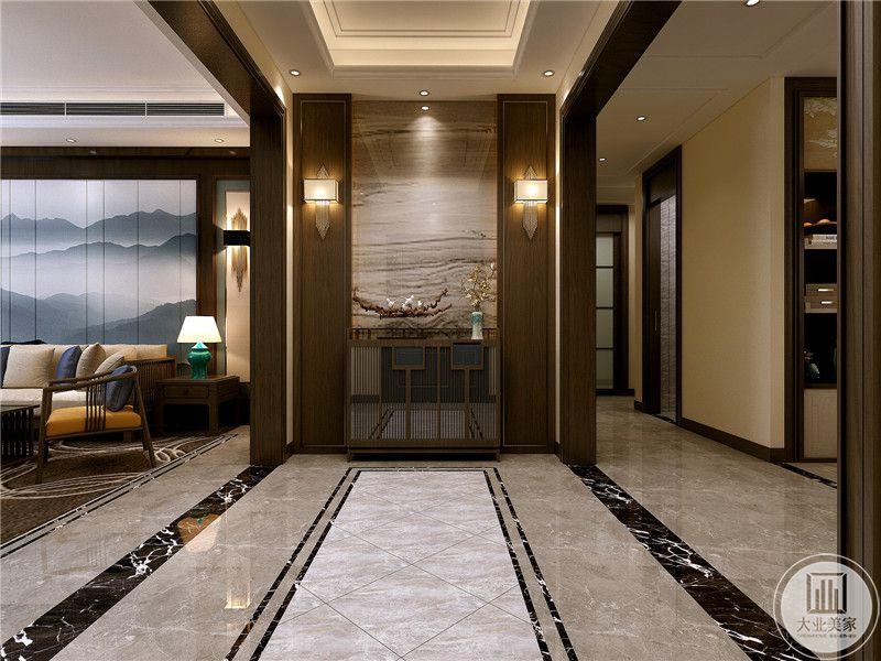 玄关处是大理石的背景,中式的镂空设计也被运用到了这里。