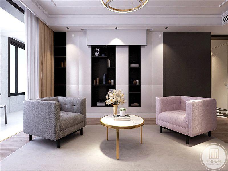 客厅布置简洁明雅,投影幕布取代了稍显厚重的电视