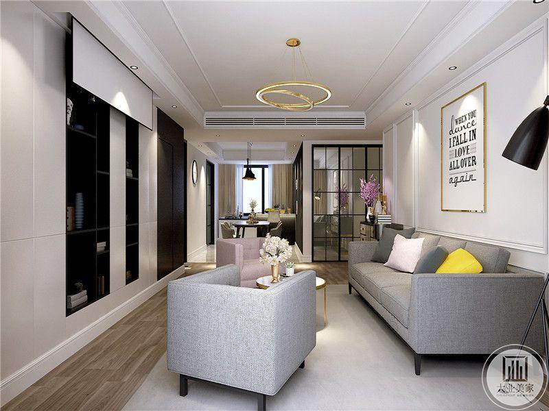 客厅主要采用了柔和文艺的布艺沙发,温暖舒适