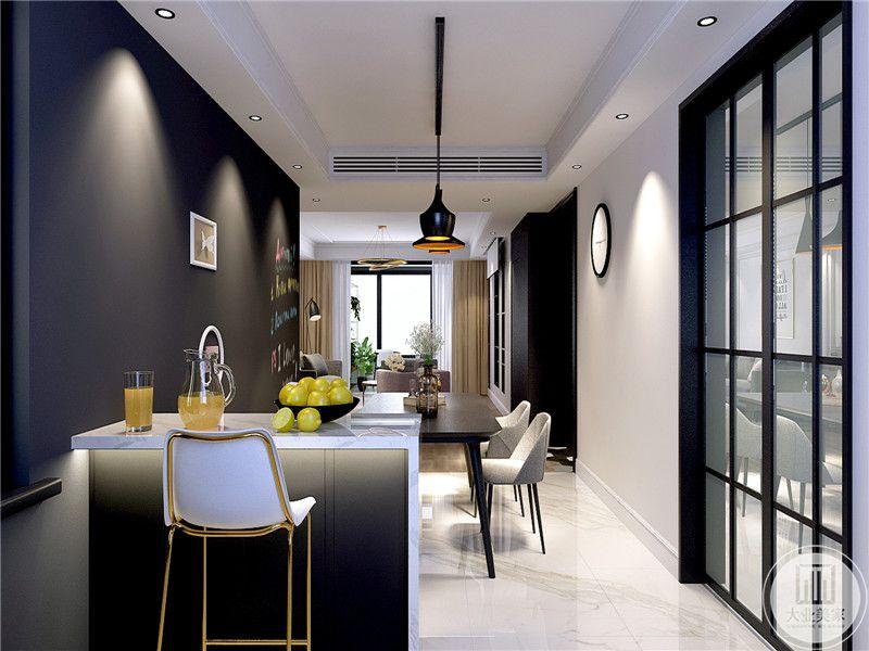 吧台的设计使家里更加时尚舒适