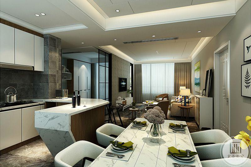 餐厅和厨房位于同一个空间,整个空间主要采用了白色带纹的大理石板,温馨自然