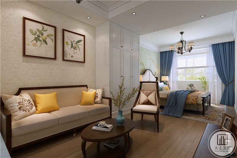 另一个小客厅空间,是简约的不易傻大,椭圆的茶几,与卧室想通,是一个设计极其精巧的空间。窗帘是浅蓝色的,窗户则是纯白色的,白色与蓝色交织出了一幅梦幻般的场景