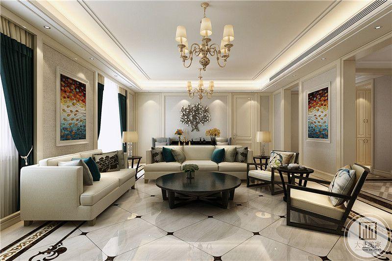 客厅沙发墙是白色的漆面,上面用一棵树为造型的装饰品装饰着,乳白色的布艺沙发看着蓬松柔软且舒适,黑色的茶几与白色的布艺沙发对比效果明显。在餐厅两侧墙上分别由一幅色彩鲜艳的挂画。