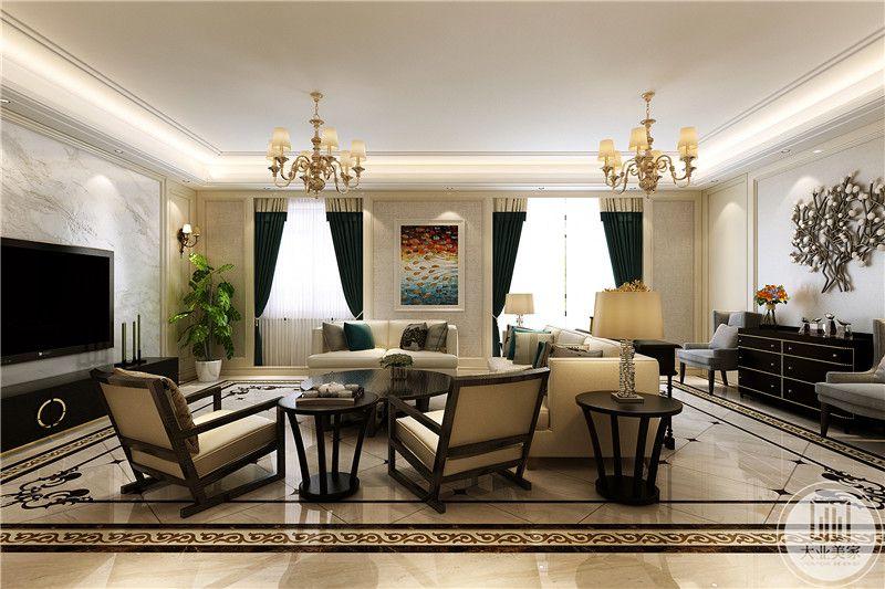 从客厅侧面来看,客厅一面开了两扇窗户,两窗之间一扇墙面装饰了鲜艳的挂画,窗帘是孔雀蓝色的优雅美丽