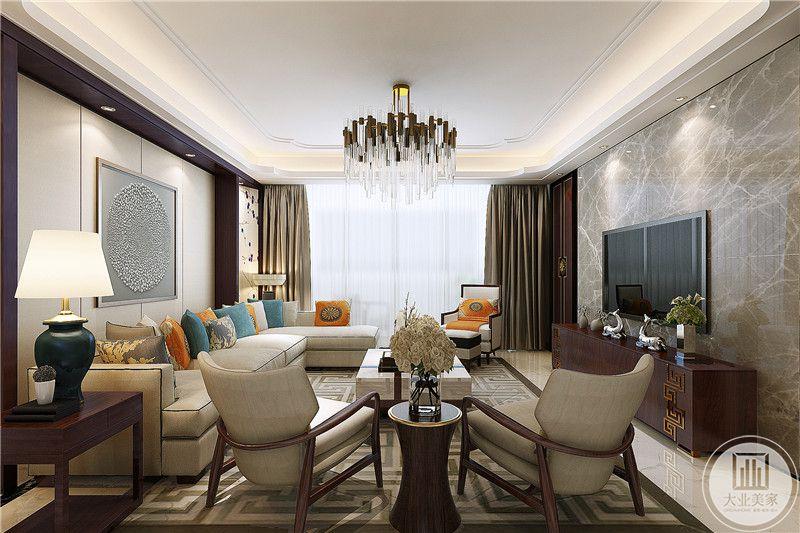 客厅电视墙是灰色裂纹大理石板,从这个角度能看见与矮椅同种材质的电视柜以及浅棕色的优雅窗帘
