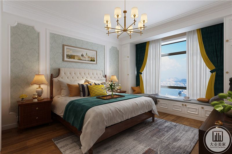卧床旁边是大大的窗户,阳台布置成榻榻米德阳市