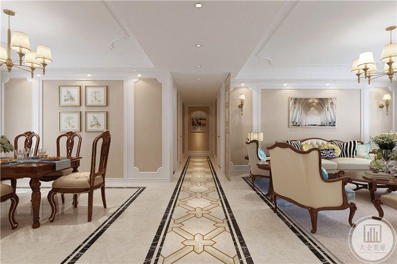 从过道的角度能够看到餐厅和客厅的一侧,中间过道地面是十字纹样,将客餐厅层次划分清楚