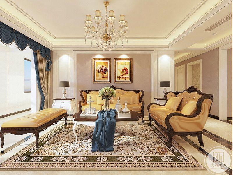 客厅是橙色的主色调,皮质的沙发华丽精致,窗帘选用了深色的蓝,将华丽稍稍雅致,提上几分优雅。和谐的恰到好处。