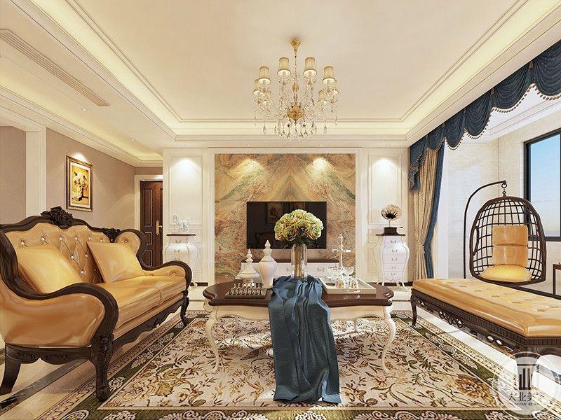 客厅地毯花纹样式繁杂精致,极具复古优雅的气息,精致的茶几上高高的插花清新优雅,给客厅添了生机,从这个角度可以看得见阳台上设置了一个懒人摇椅,十分有趣