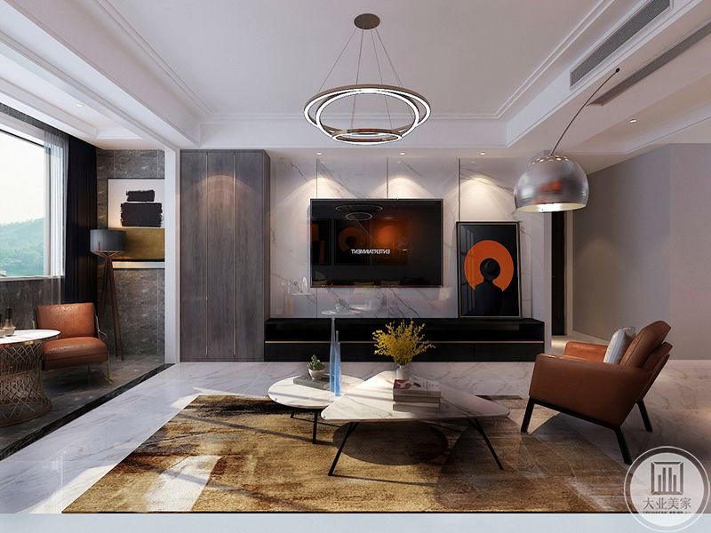 客厅电视墙与地板是大理石板,圆形和三角形的组合茶几小巧可爱,地面上铺了一块棕色的地毯,与橙色的单人沙发相称的同时也和乳白色的茶几产生了强烈的对比效果