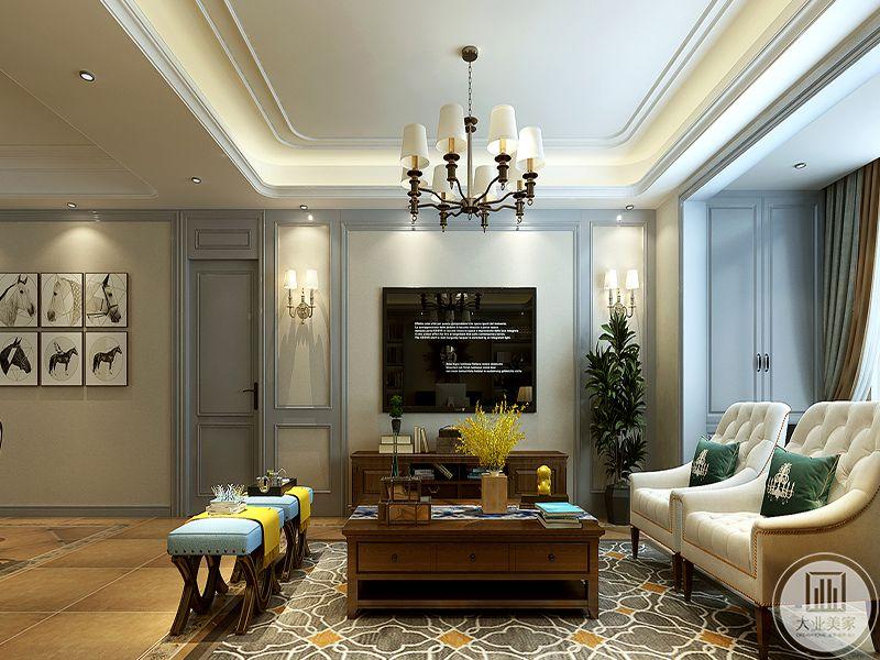 客厅电视墙是简单的白色漆面,电视柜和茶几是一水儿的木制,复古感强烈。地面是昏黄色的瓷砖
