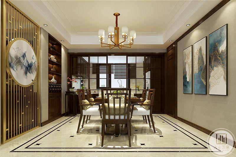 餐厅与厨房用一扇推拉门隔开,从这个角度能看见影影绰绰的厨房,温馨自然,质朴风流