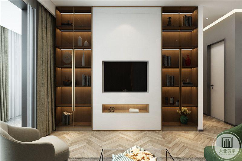 简约不等于简单,看似简单的电视墙,两侧装饰收纳橱柜,其实是设计师经过深思熟虑后经过创新得出的设计和思路的延展,表现一定要从务实出发的设计理念。