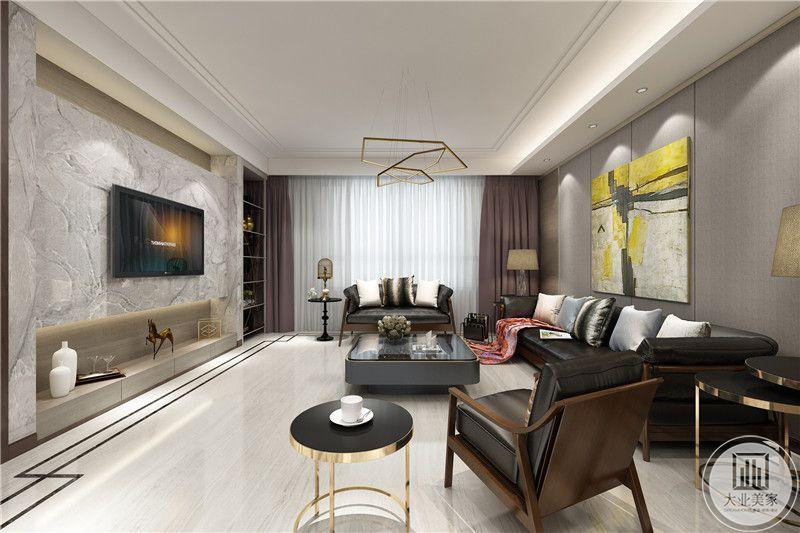 客厅线条流畅,浅灰色系的窗帘质感十足