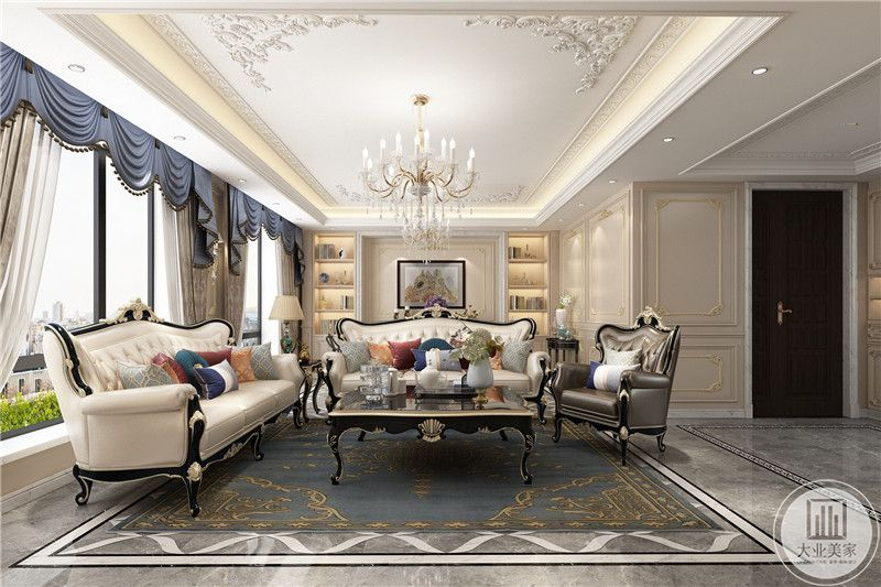 客厅是优雅的法式乳白色花腿皮质沙发