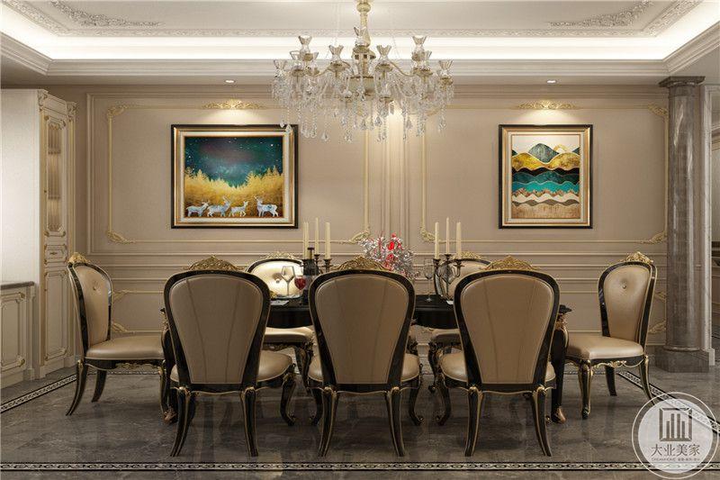 餐厅是多人桌椅,背景墙上是美丽的装饰挂画,桌子上放有烛台,是法国人的浪漫