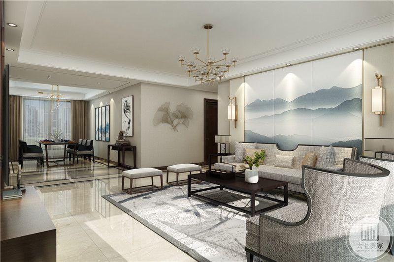 客厅 是浅灰色的设计,整体造型都有点极简主义的气息