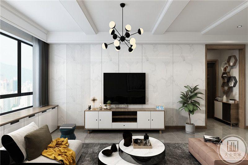 电视墙是白色大理石样式