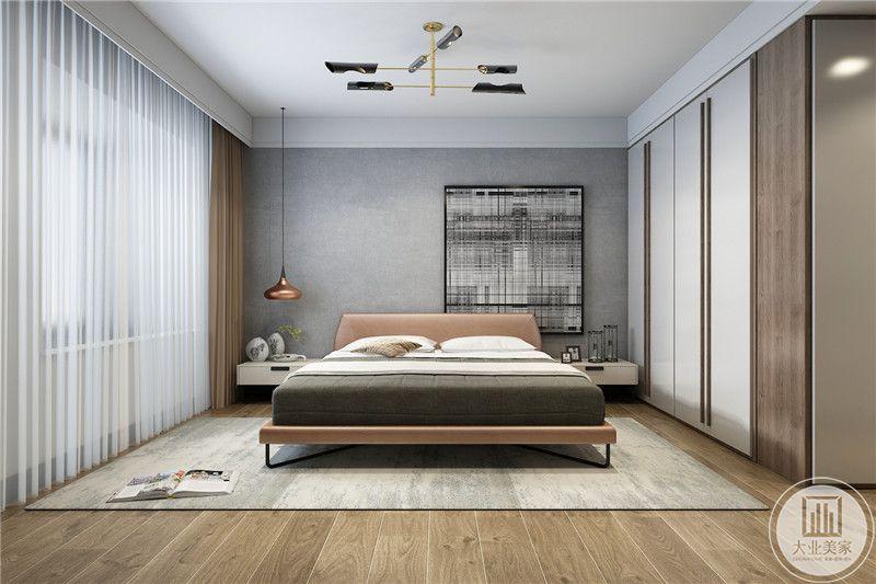 卧室是浅灰色为主色调,背景墙是偏向右侧的抽象装饰画
