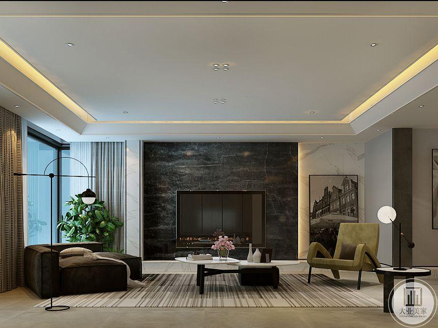 客厅电视背景墙是黑色大理石纹样,茶几是小巧的和白色调组合茶几,两侧的沙发均是简约的布艺软沙发,地板是简单的大理石材质
