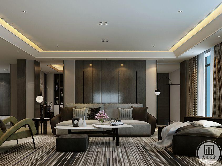 客厅 是浅灰色的设计,整体造型都有点极简主义的气息。黑白条纹的地毯完美的体现了极简主义这个理念,主沙发是棕色和浅灰色组合的布艺软沙发,看起来柔软舒适