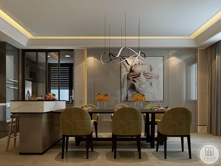 餐厅与吧台结合,餐桌是六人的长桌,椅子则是草绿色的柔和色调,符合了自然这个主题