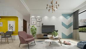龙湖春江悦茗139平中户型北欧三室二厅装修效果图