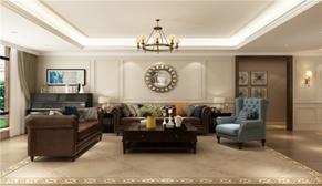 名悦山庄159平大户型三室二厅美式装修效果图