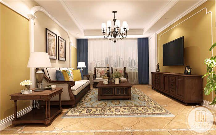 窗帘是深蓝色,电视背景墙也是姜黄色