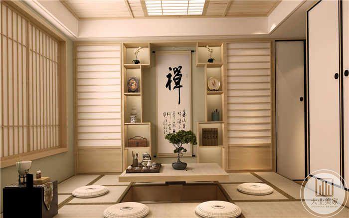 禅室布置成日式的样子,有蒲团和榻榻米