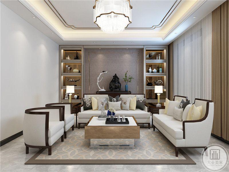 客沙发背景墙是置物架,颜色低调沉稳,中间植物和造型精致的摆件,提高室内的时尚和奢华的质感,而且能够起到画龙点睛的设计效果,避免室内给人一种冷静厚重的感觉。
