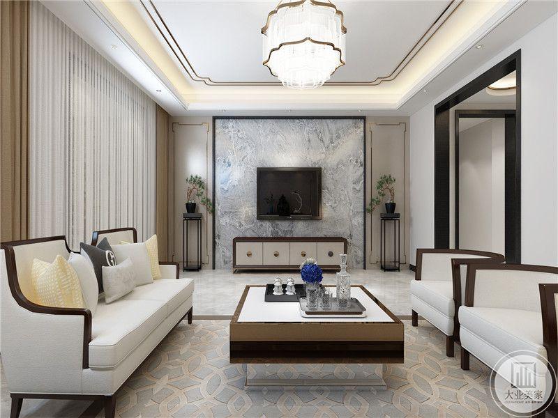 电视墙是浅蓝色纹样的壁纸,遵循简洁大气的原则,桌椅都是木质为底布艺软垫铺设的家具,给室内营造一种豪华感,白色沙发造型雅致,软装配饰色彩丰富,透露出低调奢华的大气。