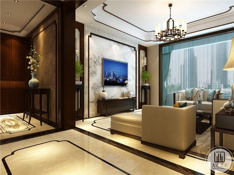 客厅是简单的布艺沙发