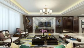财富中心251平四室一厅新中式装修效果图