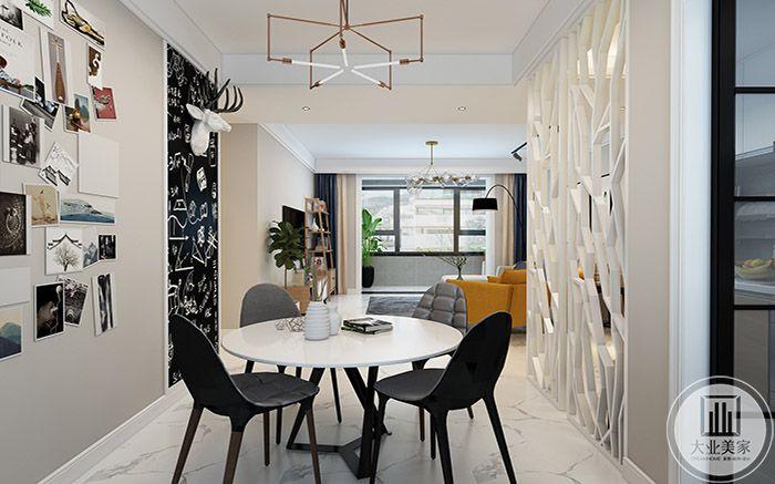 餐厅像个艺术小婷,黑白桌椅,图片墙,白色镂空隔断